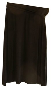 Cynthia Rowley Stretch A-line Faux Wrap Tie Front Skirt Black