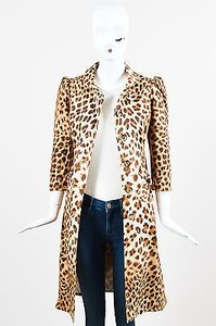 Blumarine Tan Stretch Cotton Leopard Print Button Down Topper Coat Brown Jacket