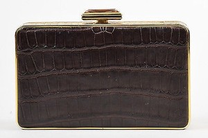 Judith Leiber Alligator Brown Clutch