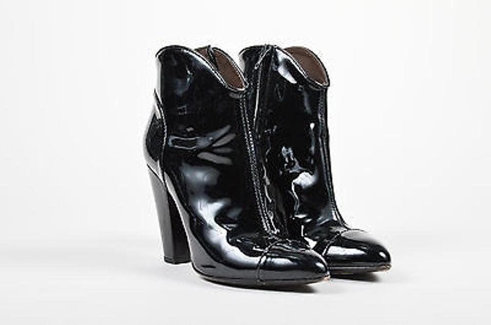 8c1ff1fe13d Burberry Patent Leather Pointed Cap Toe Chunky Heel Ankle Black Boots Image  0 ...