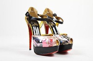Christian Louboutin Patent Leather Python Trash Multi-Color Sandals