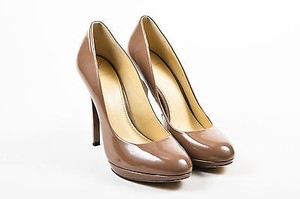 Brian Atwood Patent Taupe Pumps