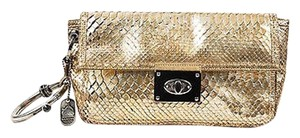 Lanvin Silver Metallic Python Leather Ring Handle Gold Clutch