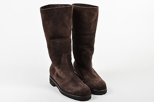 Loro Piana Suede Fur Lined Round Toe Low Heel Mid Calf Brown Boots