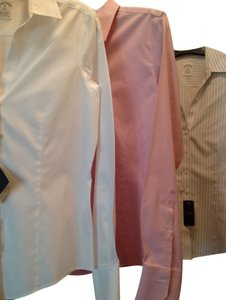 Brooks Brothers Preppy Work Button Down Shirt White, Pink, and Stripped