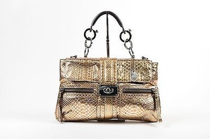Lanvin Silver Metallic Python Chain Handle Hero Shoulder Bag