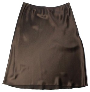 Michael Kors Silk A-line Evening Solid Skirt Brown