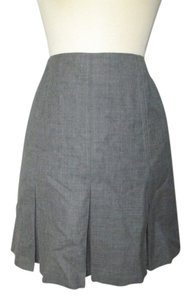 Hugo Buscati Pleated Wool Mini Skirt Grey