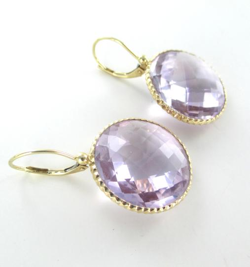 Other 14K YELLOW GOLD EARRINGS AMETHYST ROUND STONE DANGLE FINE JEWELRY JEWEL NO SCRAP