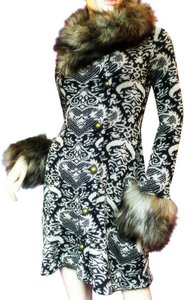 Betsey Johnson Domask Fur Brocade Jacquard Fur Coat