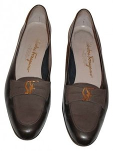 Salvatore Ferragamo These Loafers Are A Pretty Bronze/Pewter Color W/ The Classic Sf Detail On The Toe. Very Gently Used Leather Soles And Pewter Flats