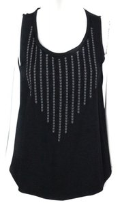 Ella Moss Sleeveless Embroidered Scoop Neck Summer Top Black