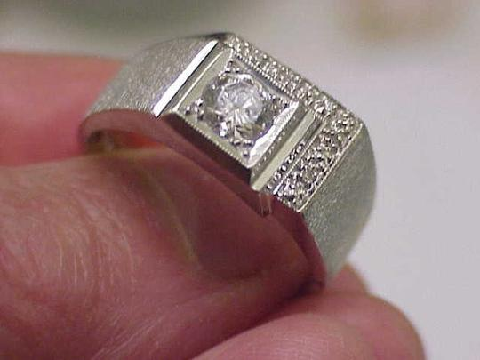 Other GIA Certified! $5820 Mens .72ct Diamond 14kt White Gold Ring Appraisal Image 3