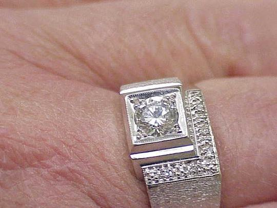 Other GIA Certified! $5820 Mens .72ct Diamond 14kt White Gold Ring Appraisal Image 1
