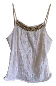 Beaded Cool Crinkle Fabric Top cream