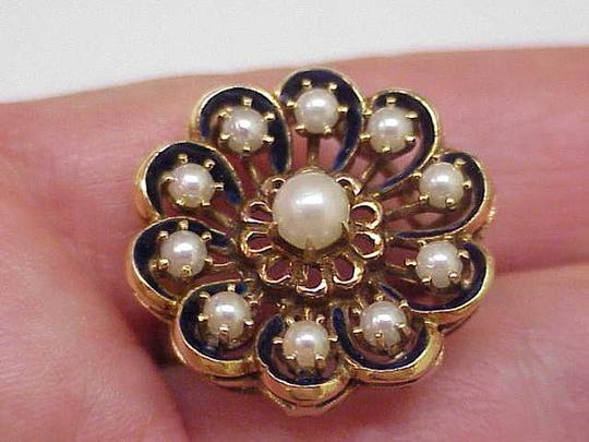 Other Incredible works of Art,Designer GH, 14k Yellow Gold Natural Cultured Akoya Pearl Blue Enamel Ring,1920s