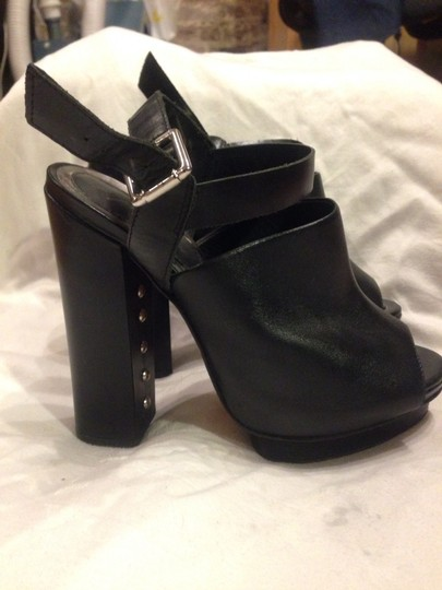 Topshop Premium Peep Toe Leather Black Platforms