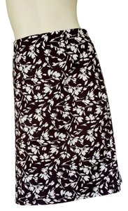 Lauren by Ralph Lauren Ivory Cotton Floral Skirt Brown