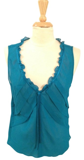 Liz Claiborne Ruffle Pleated Shell Top Turquoise