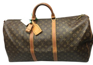 Louis Vuitton Vintage Leather Canvas Monogram Travel Bag