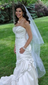 J.L. Johnson Bridals Diamond White Waltz Two Layer Encasement Bridal Veil