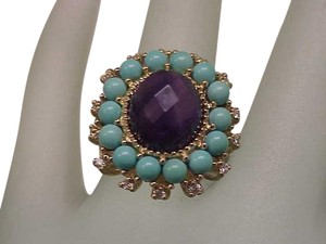 Amazing Genuine Amethyst Turquoise Diamonds 10kt Yellow Gold Ring