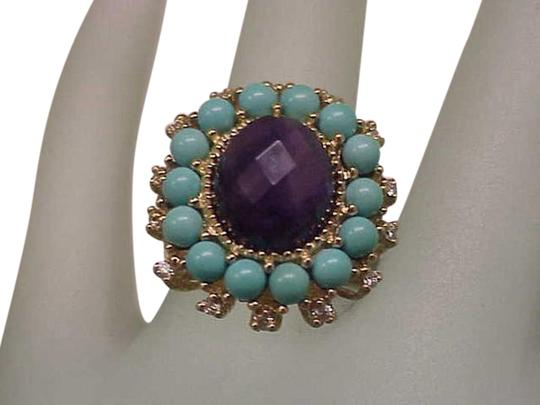 Preload https://item3.tradesy.com/images/amazing-genuine-amethyst-turquoise-diamonds-10kt-yellow-gold-ring-13385647-0-3.jpg?width=440&height=440
