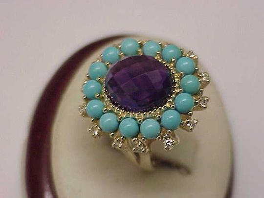 Other Amazing Genuine Amethyst Turquoise Diamonds 10kt Yellow Gold Ring