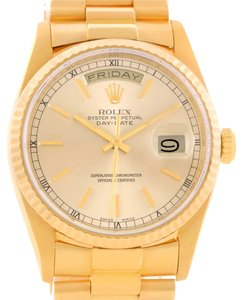 Rolex Rolex President Day Date Mens 18k Yellow Gold Baton Dial Watch 18238