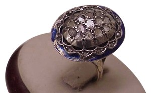 Other Superb Antique Victorian 2.00ct Rose Cut Diamond 15k Gold Blue Enameled Ring,early 1800s
