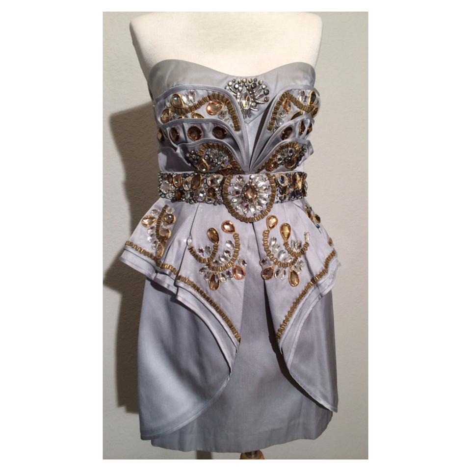 Temperley London Silver Gold Beaded Mini Corry Short Cocktail Dress ...
