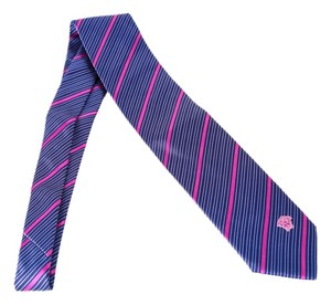 Versace Versace Navy Blue Purple Diagonal Stripe Tie