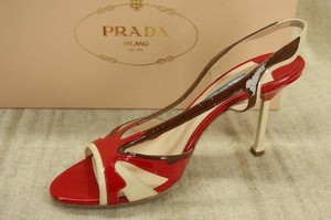 Prada Red Strappy Wing Pumps