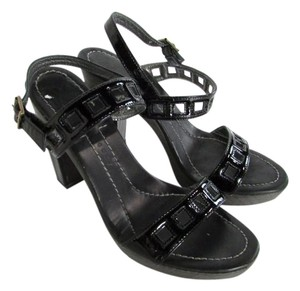 Theory Cut Out Chunky High Heel Patent Leather Black Sandals