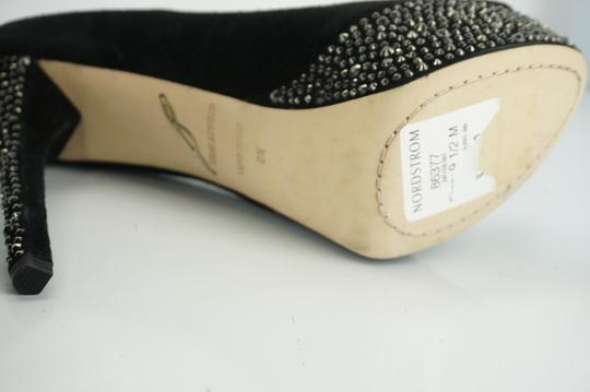 B Brian Atwood Studded Heel Open Toe Classic Formal Black Pumps
