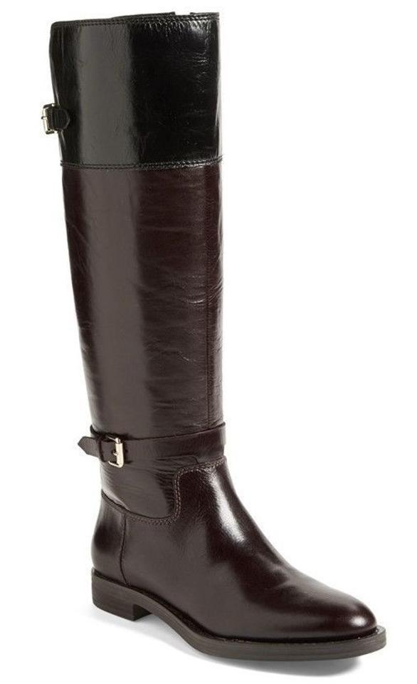 e058cadcbf26 Enzo Angiolini Brown Leather Black Top Bicolor Eero Knee Tall Riding Boots  Booties