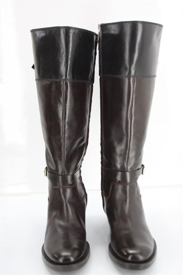 7b76213ba6b Enzo Angiolini Brown Leather Black Top Bicolor Eero Knee Tall Riding  Boots/Booties Size US 7 Regular (M, B) 64% off retail