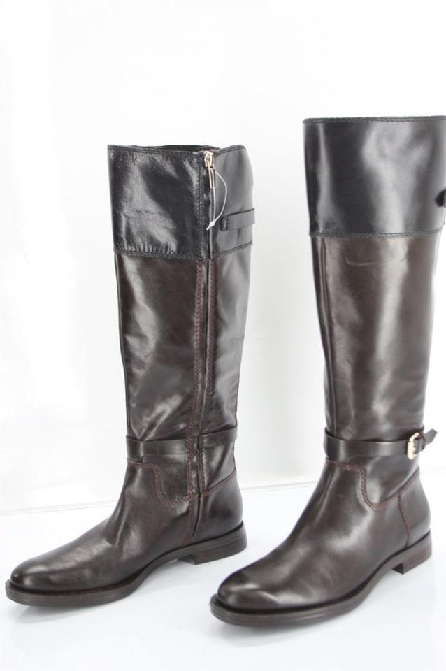 382b0a125ce0 Enzo Angiolini Brown Leather Black Top Bicolor Eero Knee Tall Riding Boots  Booties Size US 7 Regular (M