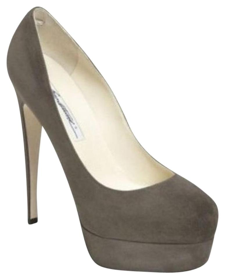 Brian Atwood Gray Hamper Suede Suede Suede Classic High Heel Pumps Platforms a6ce86