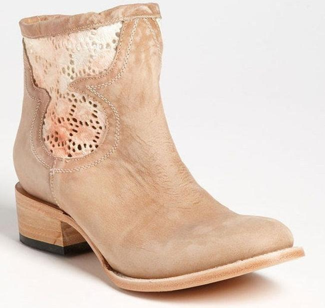 FREEBIRD by Steven Beige Distressed Suede Cabcro Lace Trim Ankle Boots/Booties Size US 10 Regular (M, B) Image 1