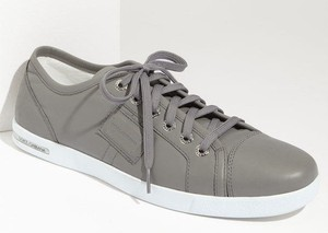 Dolce Gabbana Gray Leather Sneakers Size 12 Dg Tennis Shoes 425 Low Tops
