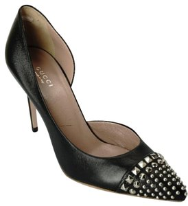 Gucci D'orsay Studded Toe Pointed Cap Heels Black Pumps