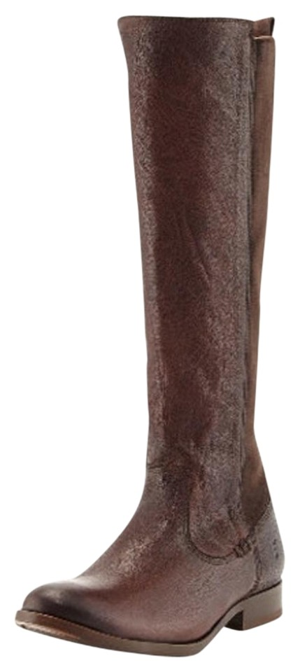 83dd27e95584 Frye Brown Molly Gore Tall Leather Stretch Riding Boots Booties Size ...