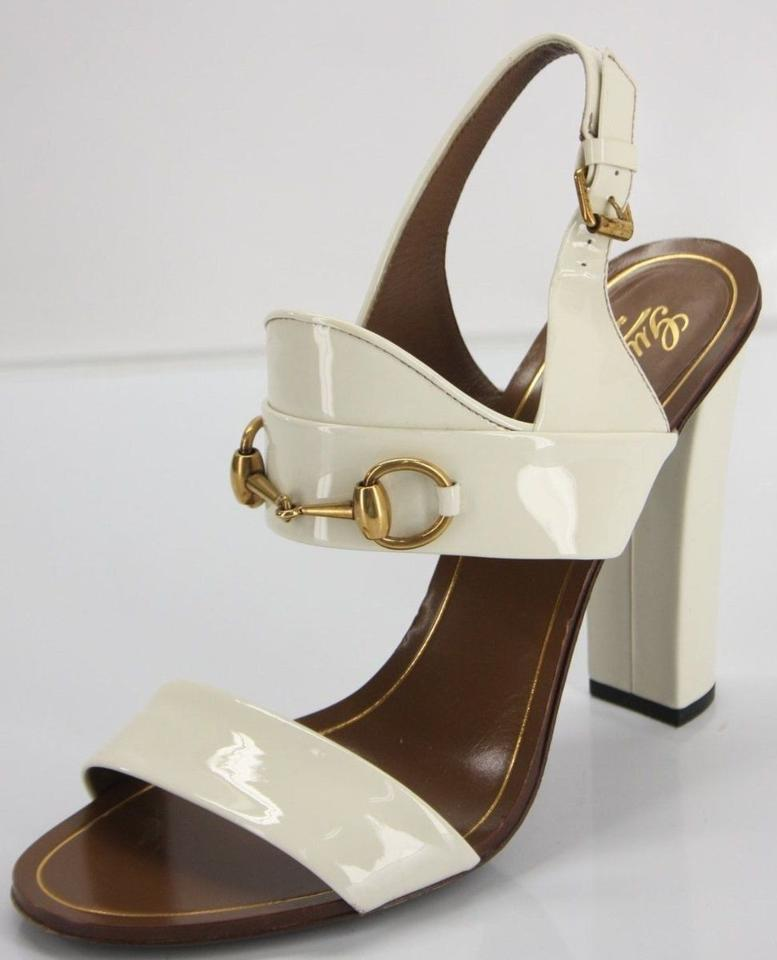 8a9487804dd05e GUCCI Alyssa off white Patent Leather Horsebit Sandals Size 39.5 Block Heel   695 - Tradesy
