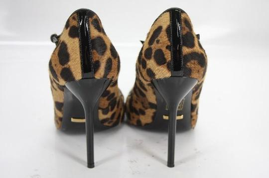 Gucci Beverly High Heel Pony Hair T Strap Leopard Print Pumps