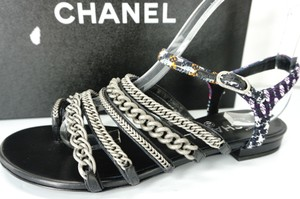 Chanel Sd443042984 Nib Chain Straps Caged Grey Sandals