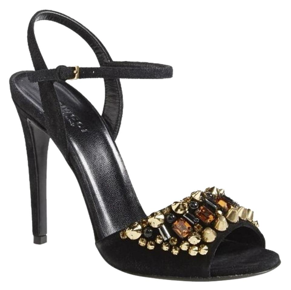 d0b290ca44dca Gucci Black Suede Malin Beaded Jewel Ankle Strap High Heels Sandals ...
