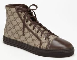 Gucci Brooklyn Sneakers Brown Leather High Top Logo Sz 7g 8 Us Mens Shoe 490