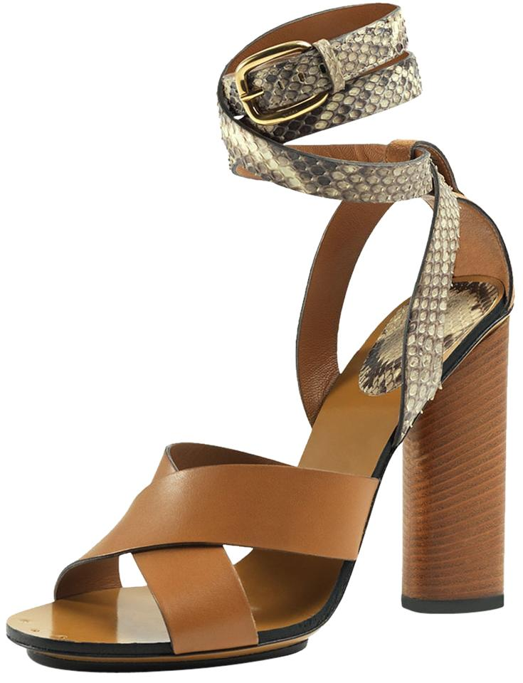 d675bfadb42 Gucci Brown Leather Snakeskin Ankle Wrap Strappy Sandal Heel Shoes ...