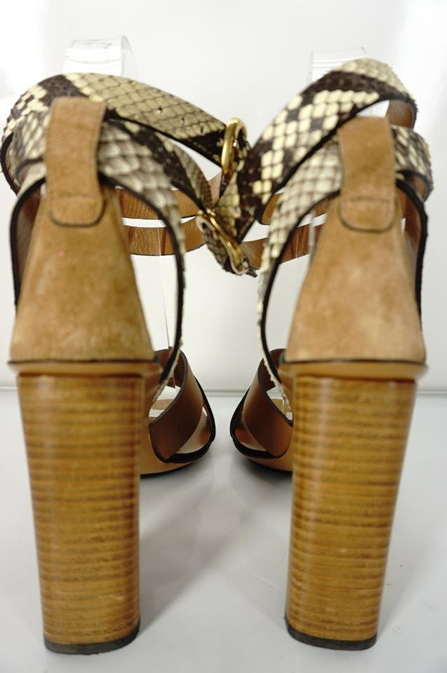 7d6c6a1c051 Gucci Brown Leather Snakeskin Ankle Wrap Strappy Sandal Heel Shoes Size 355  - Tradesy